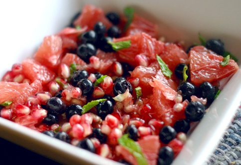 Pomegranate, Grapefruit and Blueberry Salad in a Champagne Vinaigrette