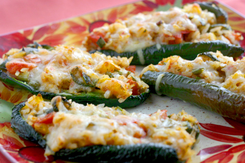 Stuffed Poblano Peppers with Smoky Salsa