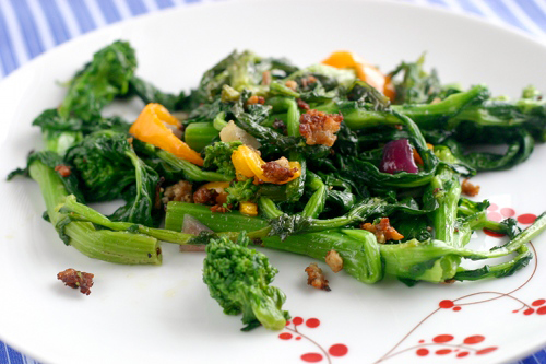 Spicy Broccoli Rabe, Sausage and Bell Pepper Saute