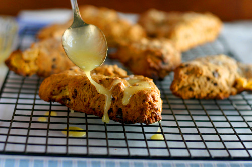 Clementine and Chocolate Scones with Orange Glaze