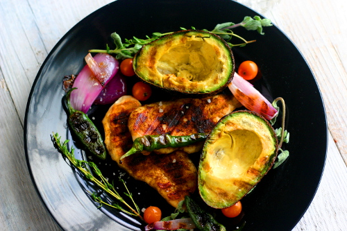Blackened Chicken with Grilled Avocados