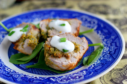 Spinach Stuffed Pork with Horseradish Cream