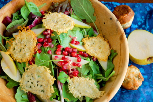 Pomegranate and Pear Salad with Parmesan Crisps