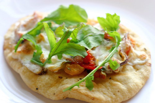 Spicy Grilled Mini Pizzas with a Parsley, Tomato Gremolata