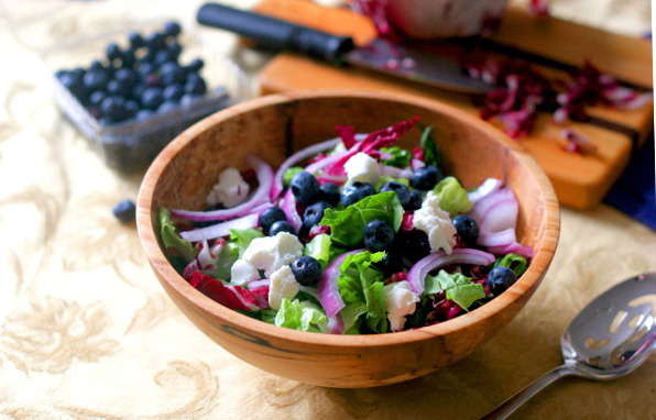 Blueberry and goat cheese salad