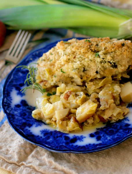Vertical chicken gratin
