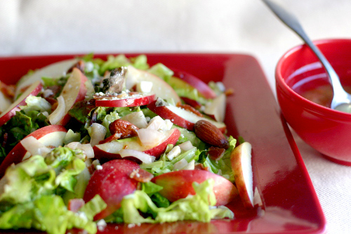 Candied Almonds with Sea Salt in an Apple, Bacon and Blue Cheese Salad