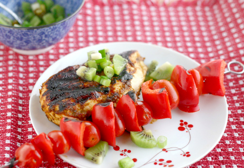 Ancho and Chipotle Lime Chicken with a Kiwi Salsa
