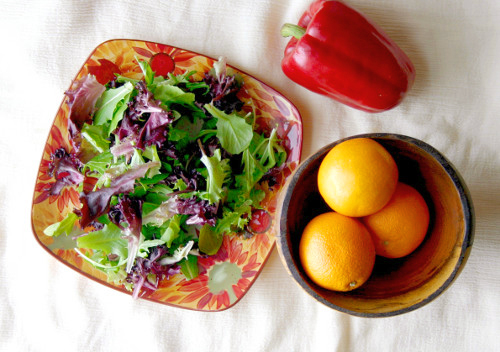 Fresh Orange Vinaigrette and Red Pepper Salad