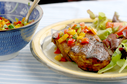 Blackened Chicken with Sweet and Spicy Bell Pepper Salsa
