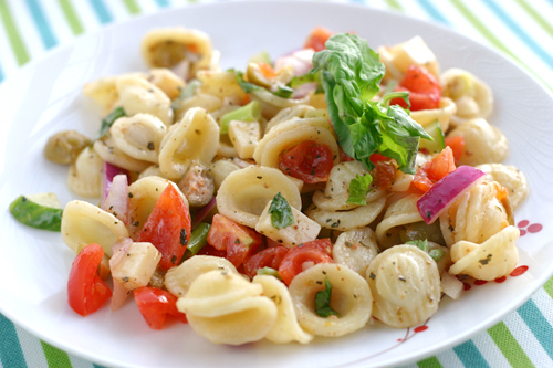 Orecchiette Salad with Fresh Basil and Capers