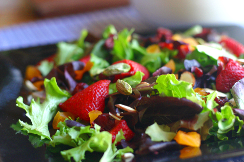 Strawberry Salad with Baby Greens and Lemon Vinaigrette