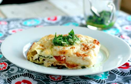 Herbed Lasagna with Oregano Puree