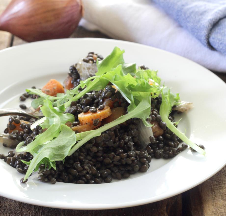 Beluga Black Lentil Salad with Roasted Vegetables